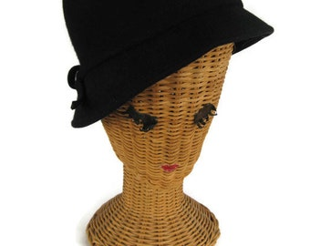 classic black cloche woman's hat, 1960's
