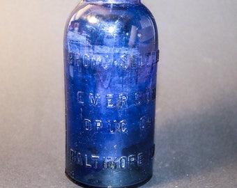 Deep Cobalt Blue Bromo Seltzer Bottle