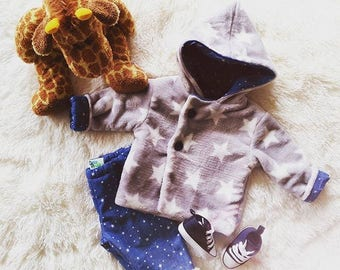 Baby reversible coat set stars and his pants 9 months