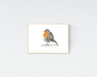 Robin Redbreast Print, European Robin Painting, Nursery Wall Art, A3 Watercolour Bird, Wildlife Home Decor, Australian Seller