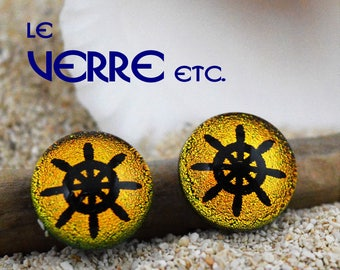 Earrings, studs and chips, Dichroic Glass, stainless steel, stainless steel, rudder, nautical, gold, fused glass, handmade, glass