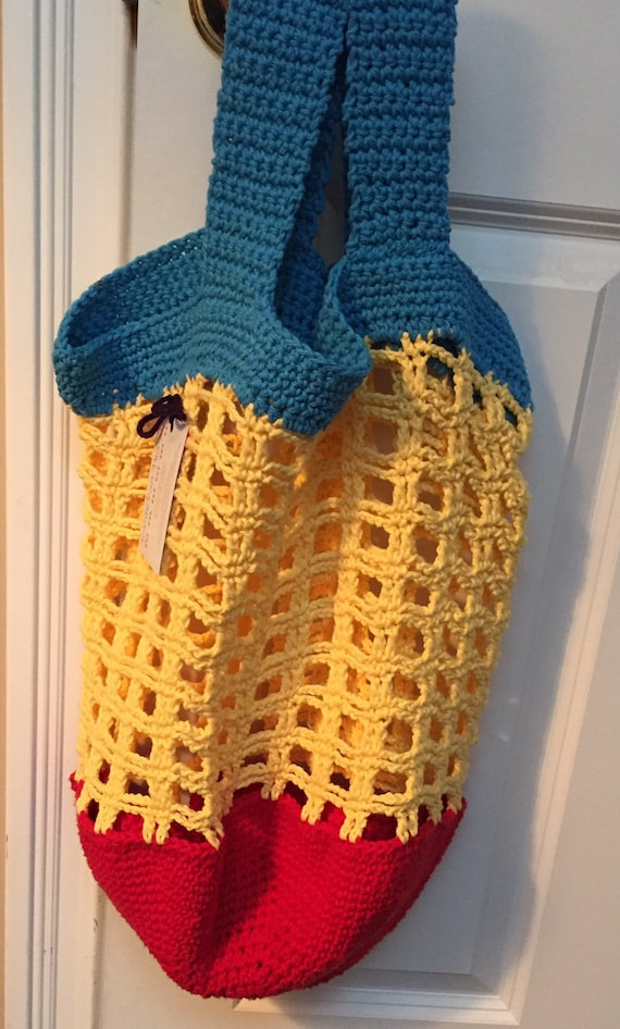 Aqua,Bright Yellow, and Red Crocheted Tote, Beach or Market Bag, in Cotton