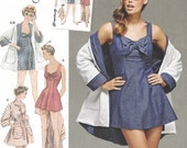 1950s Womens Bathing Dress and Beach Coat Re-Issued Pattern Simplicity Sewing Pattern 8139 Size 14 16 18 20 22 Bust 36 38 40 42 44 UnCut