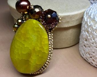 Agate brooch gemstone brooch handmade brooch natural stone brooch yellow brooch agate jewellery designer brooch agate pin present for her