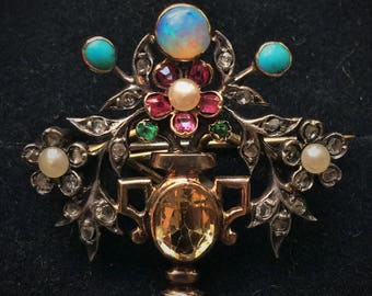 Vintage 19th century Multi-gem Giardinetto Brooch Pendant