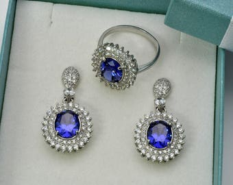 Tazanite Ring And Earrings Set With White Sapphire Accents .925 Streling Silver