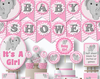 Printable Elephant Baby Shower Decorations girl pink and gray package Digital PDFs Instant Download diy banner centerpiece favor invitation