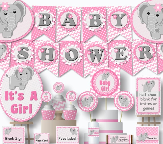 Pink And Gray Elephant Baby Shower Decorations: Printable Elephant Baby Shower Decorations Girl Pink And Gray