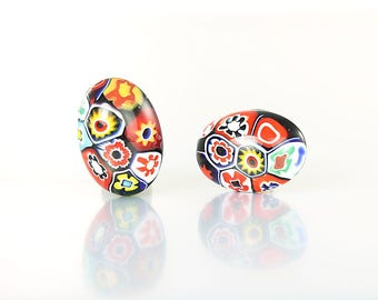 Millefiori Earrings, Oval Venetian glass Button Earrings, Multicolor Clip on Italian 1960s jewelry
