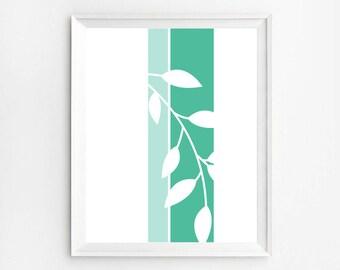 Mint Green Wall Art, Abstract Art Print, Mint Green Decor, Geometric Print, Light Green Decor, Green Prints, Digital Download, 8x10