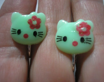 """Play Earring - Clip -  Kitty - Green/w Red Flower - 5/8"""""""