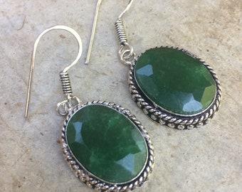 Emerald and Silver earrings. Bohemian earrings, vintage earrings. Raw emerald dangle earrings