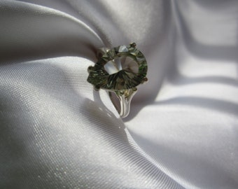 Concave Cut Mint Green Amethyst Sterling Ring