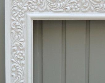 White Picture Frames, 12 x 16 White Frame, Vintage Wood Picture Frame, Wall Frame, Cottage Decor, Shabby Chic Frame, Floral Frame