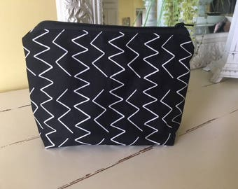 Zippered Pouch Black Canvas Gadget Cosmetic Bag Phone Purse organizer