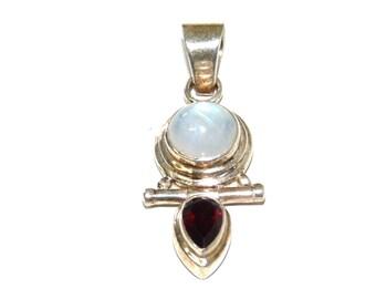 Moonstone Garnet Sterling silver Pendant Neckalce
