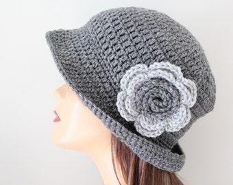 Crochet Womens Hat Gray Cloche Hat
