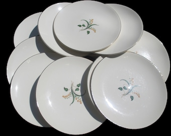 Knowles China Accent Shape - Forsythia Pattern - Freda Diamond Design - Set of 4 Salad Plates  (3 Sets Available)