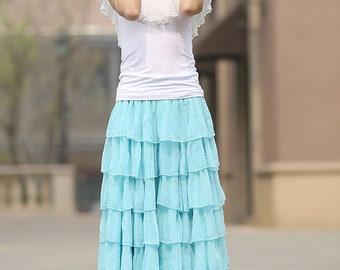 Chiffon tiered skirt, blue chiffon skirt, layered skirt, maxi skirt, summer skirt, chiffon skirt, elastic waist skirt, womens skirt  (938)