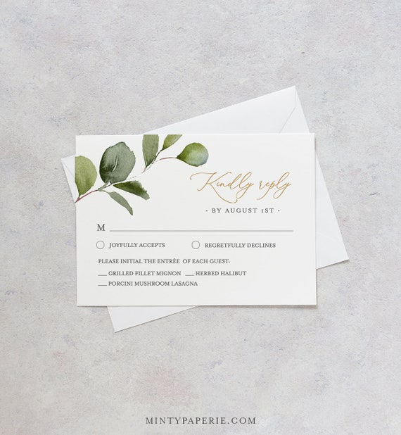 Greenery RSVP Card Template, INSTANT DOWNLOAD, 100% Editable Text, Printable Boho Gold Wedding Response Postcard, DiY, Self-Editing #056RSVP