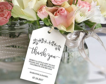Rustic wedding thank you tag, printable label template, favor bag welcome tag, bridal gift idea | Boho Flowers