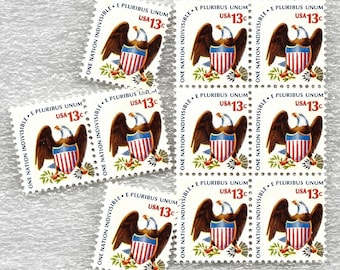 10 Unused American Eagle US Postage Stamps 13 Cents from 1975 Stamp #1596 Mail Wedding Invitations Patriotic Bird & Shield ~ 8734a