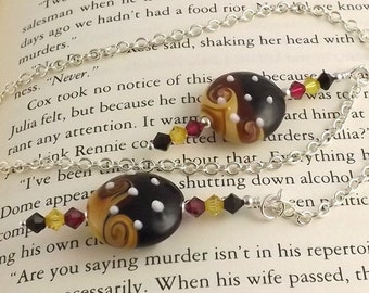 Tess Lampwork Glass Swarovski Crystal and Chain Bookmark aka Book Thong a perfect addition to your library
