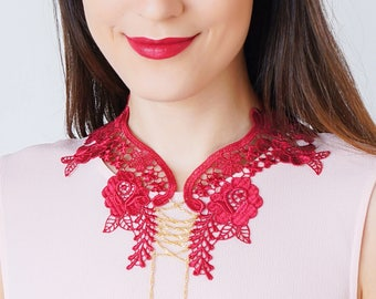 Lace Collar Burgundy Collar Vintage Collar Statement Necklace Gift For Her Birthday Gift Sister Gift/ VALERIA