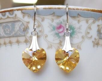 Gold Heart Earrings , Swarovski Earrings , Swarovski Heart Earrings , Yellow Heart Earrings