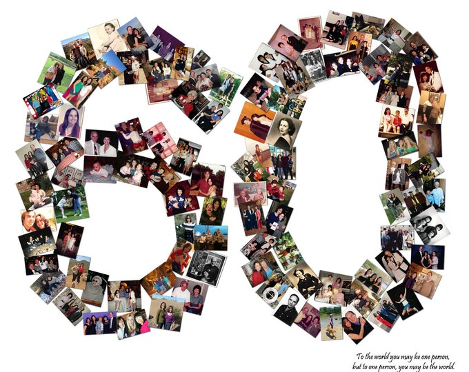 60th Birthday Anniversary Collage Custom Canvas Mosaic Collage Picture Gift Wedding or Anniversary Wall Art 20x24