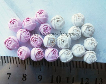 10 pcs.  white and pink ranunculus polymer clay flowers, polymer clay flower bead