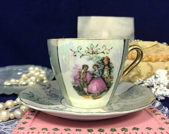 Vintage Porcelain Tea Cup & Saucer Set - Japanese Lusterware Teacup Set - Pearlescent Sea Foam Gold Gilt - Small Tea Set - Colonial Couple -