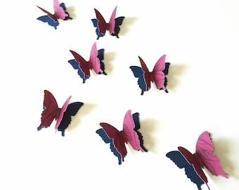 Burgundy 3D Paper Butterflies, fall wedding, bridal shower decor, anniversary party, fall event decor, winter event decor
