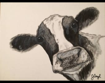 """Cow canvas painting print - """"Pearl"""""""