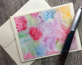 Flower Patch - Abstract Floral Watercolor Painting Art Print - Ivory Note Card