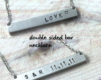 Stainless Steel Reversible Personalized Bar Necklace, Double Sided Name Plate Necklace,Two Sided Hand Stamped Bar Necklace, Initials Bar