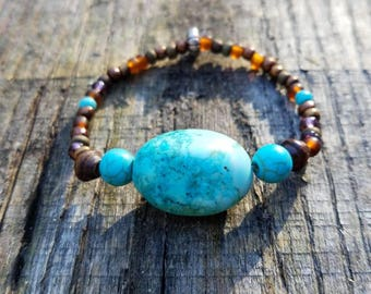 Turquoise bracelet, turquoise and glass, wood beaded bracelet. Handmade , stretch