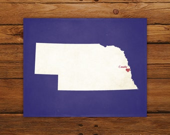 Customized Nebraska 8 x 10 State Art Print, State Map, Heart, Silhouette, Aged-Look Print
