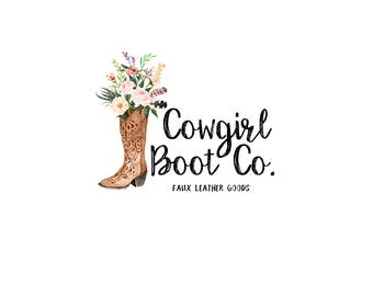 Watercolor logo design - Cowboy boots Premade logo - Bohemian watercolor logo - Boho logo design - Branding for shops - Business logo