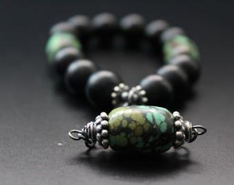 Turquoise and matte onyx bracelet boho tribal bracelet stretch stacking charm bracelet Bali sterling bracelet genuine turquoise bracelet