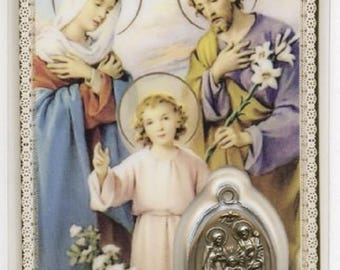 Card laminated medal Holy picture Holy Family Mary Joseph baby Jesus high quality