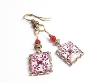 Floral print earrings Botanical tile earrings with vintage style drawings. Red wine & white  Herbal earrings.
