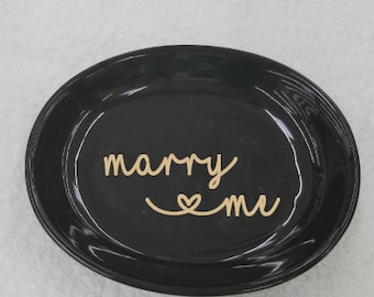 Marry Me Ring Dish- Jewelry Holder - Ring Holder - Engagement Gift - Personalized Gift - Love Hearts