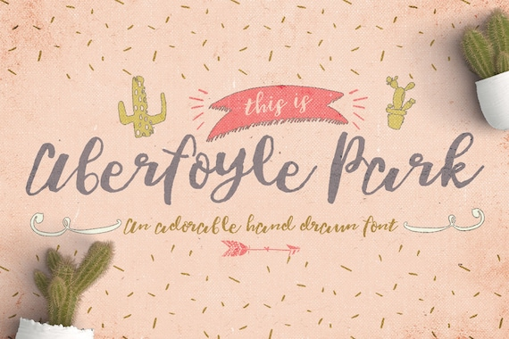 Digital Font Aberfoyle Park - Digital Typeface - Hand drawn Type - Instant Download