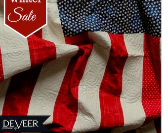 American Flag Twin size quilt - USA pride - twin size quilts - red white and blue