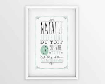 Birth Stats Wall Art Nursery Wall Print Baby Print Baby Birth Announcement Print Baby Room Art Baby Wall Art