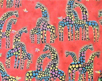 Mythical Jungle Giraffe Metallic by Laurel Burch Fabric Cotton by the yard Order by color Red, Pink