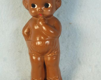 """Vintage-1960s-70s-Doll-Brown Molded Little Girl-No Markings-5 1/2"""" Tall"""