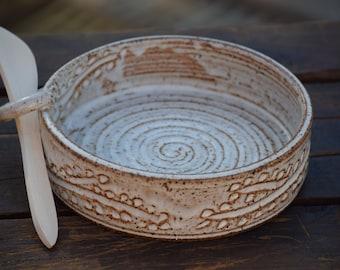 stoneware brie baker with wooden spreader