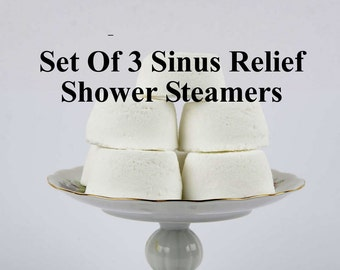 Sinus Relief Shower Steamer - Gift  Set Of 3 Shower Bombs -  Peppermint Essential Oil - Eucalyptus Essential Oil - Menthol
